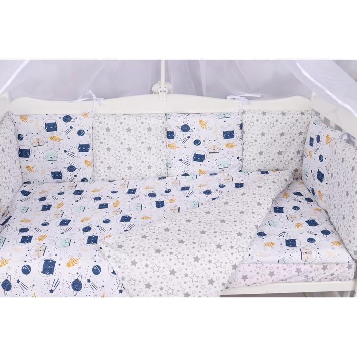 Борт в кроватку WB, 12 предметов, цвет белый, принт космос