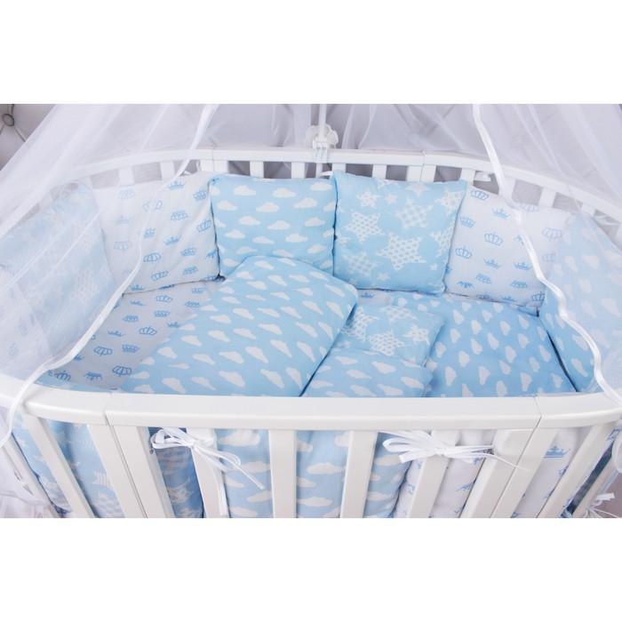 Комплект в кроватку «Воздушный», 15 предметов, бязь, голубой