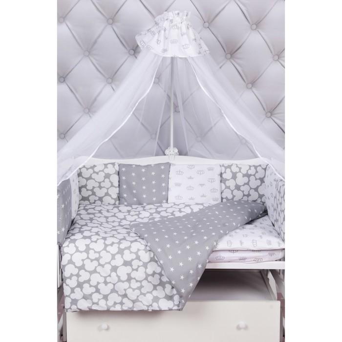 Комплект в кроватку Silver 15 предметов, серый