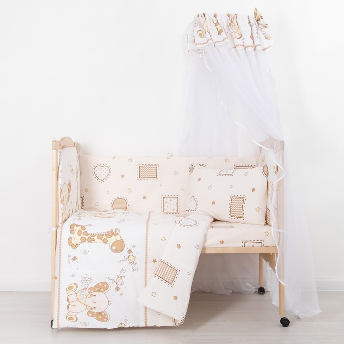 """Комплект в кроватку (7 предметов) """"Жираф и Слоненок"""", бязь, хл100%"""