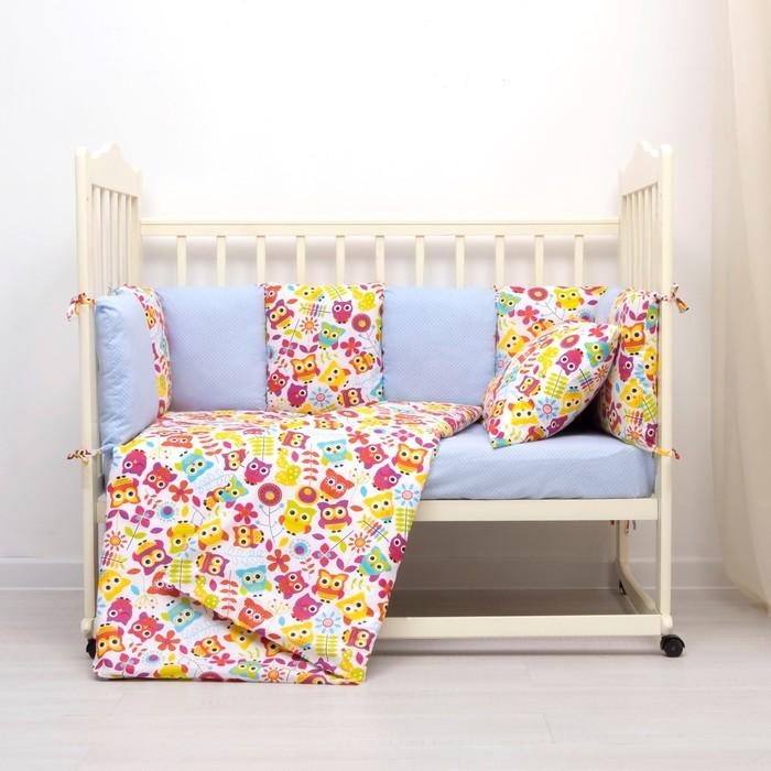 Комплект в кроватку (4 предмета), диз. совы яркие с горошком на голубом