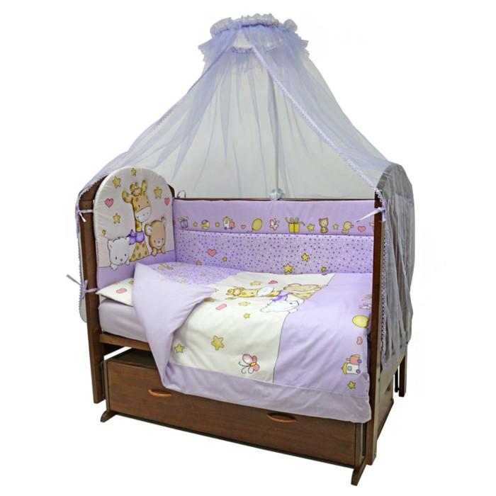 Комплект в кроватку «Детский Мир», 7 предметов, цвет сиреневый 719М/6