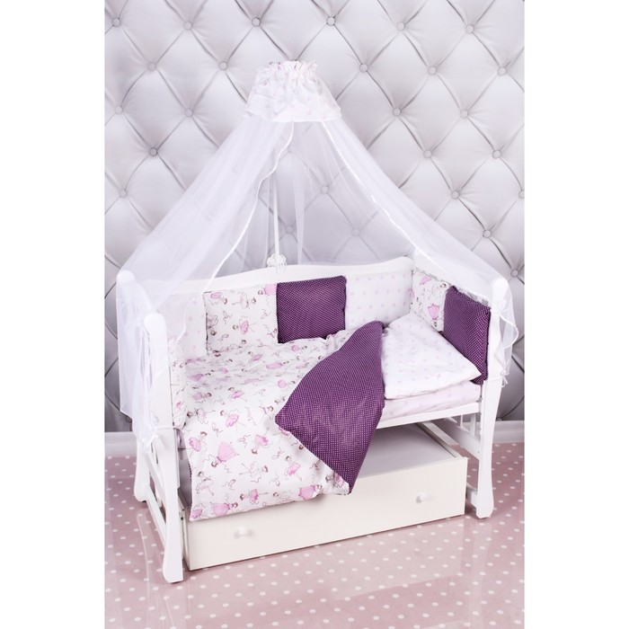 Комплект в кроватку «Амели», 18 предметов, бязь, вишня/белый