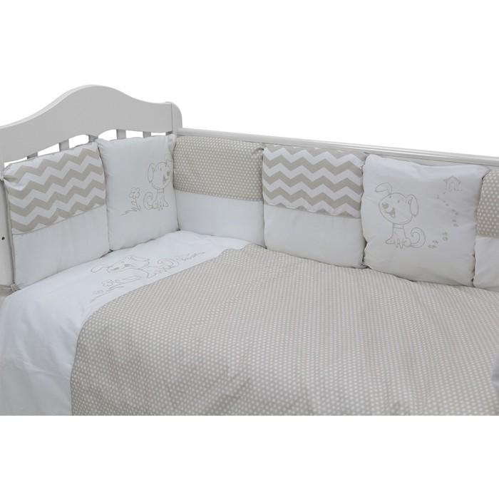 Комплект в кроватку «Гав-Гав», 6 предметов, цвет серый 671/8