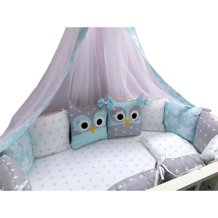 Комплект в кроватку «Совушки», 22 предмета, цвет голубой