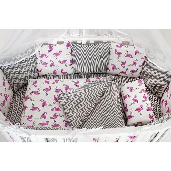Комплект в кроватку, 18 предметов, поплин, цвет малиновый/серый, принт фламинго