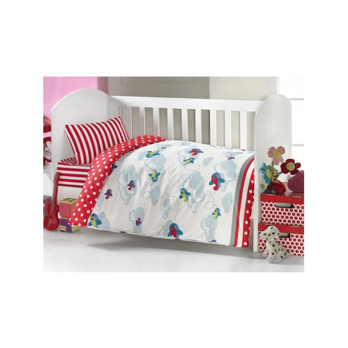 Комплект в кроватку «Самолёт», 6 предметов, цвет красный