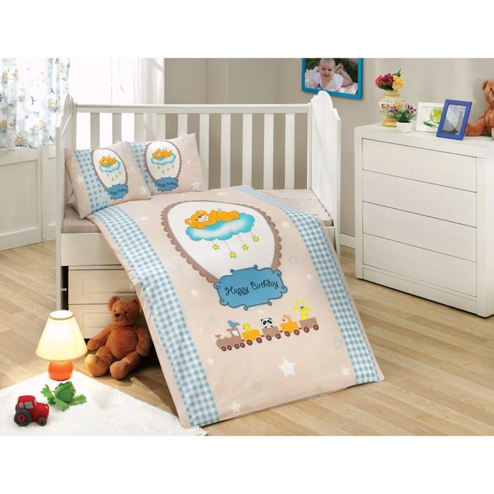 Комплект в кроватку Bambam, 10 предметов, цвет голубой, поплин