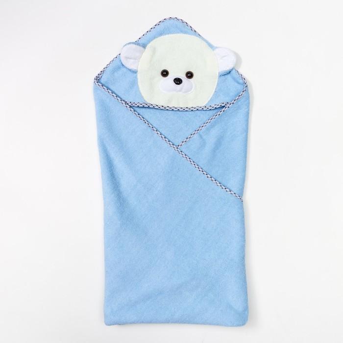 """Полотенце-уголок махровое с капюшоном """"Мишутка"""", (голубое), 80х80 см, хл100, 400 г/м"""