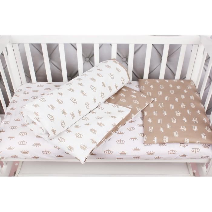 КПБ Baby Boom, размер 75х125 см, 112х147 см, 40х60 см, бязь, короны/коричневый