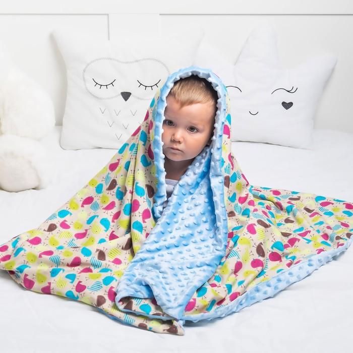 Одеяло Крошка Я 110×140 см,цв. голубой, хлопок/полиэстер