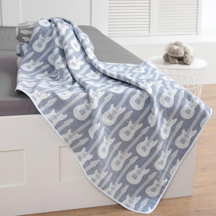 Одеяло детское Крошка Я «Гитара», 110 × 140 см, цвет синий, жаккард, 100 % хлопок