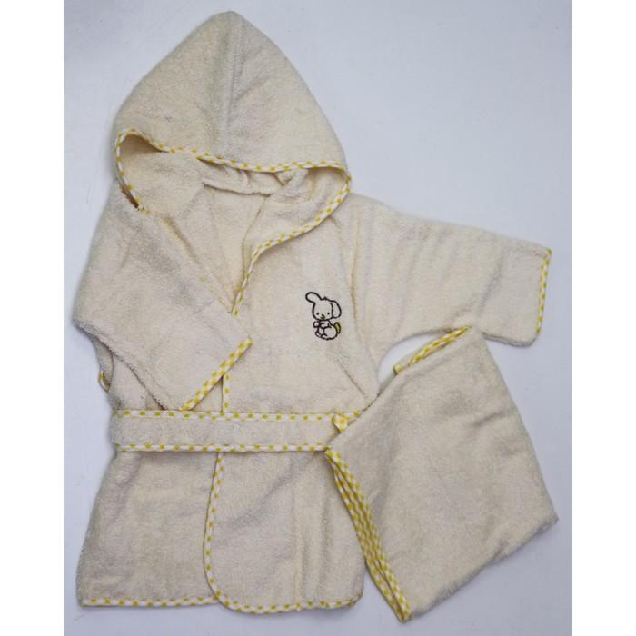 Комплект, халат 6-24 месяцев, полотенце, цвет жёлтый, махра М-2/3