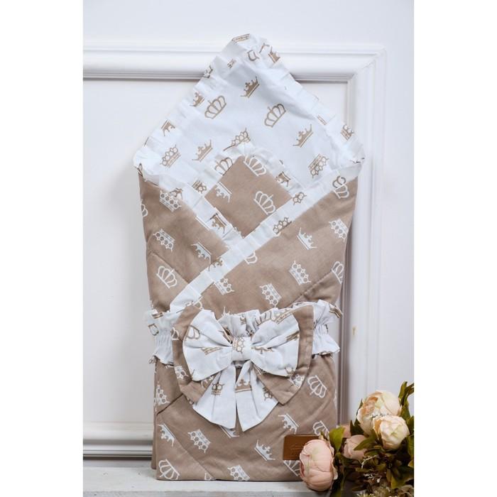 Конверт-одеяло Happy, размер 93×93 см, короны коричневый
