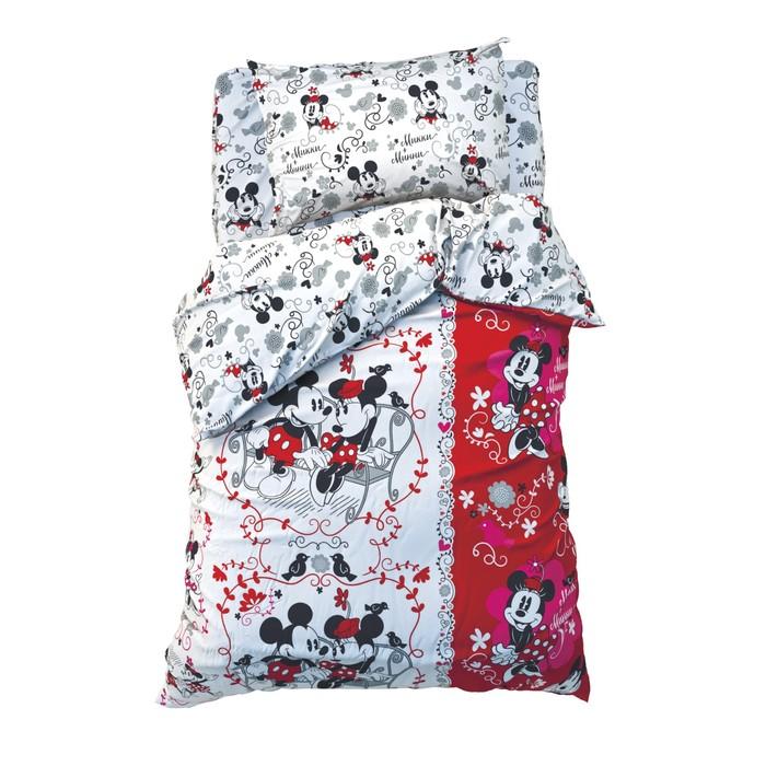 """Постельное бельё 1,5 сп """"Микки Маус и друзья: Микки и Минни"""", размер 143х215 см, 150х214 см, 50х70 см-1 шт., 100% хлопок"""