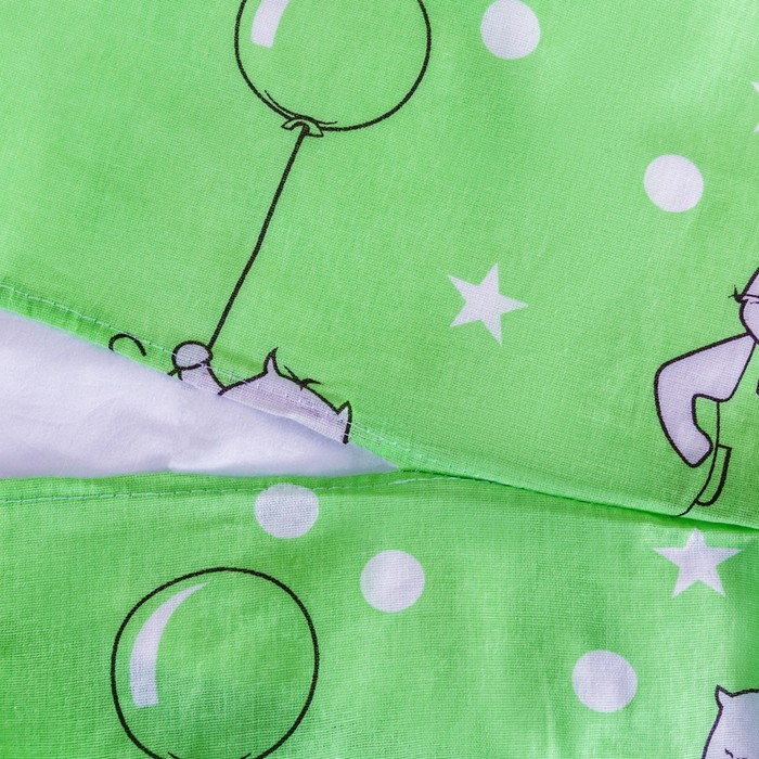 Постельное бельё 1,5сп Ночь нежна «Маленький котенок», цвет зелёный