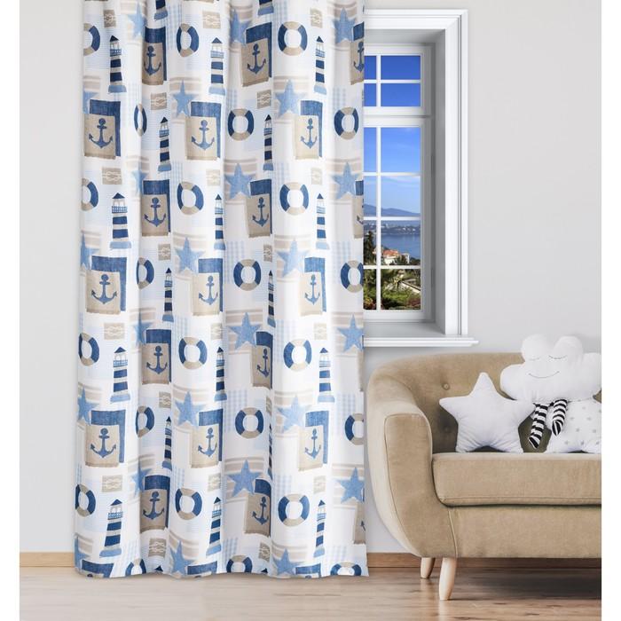 Портьера Крошка Я «Морской стиль» без держателя цвет синий, 110×260 см, блэкаут, 100% п/э