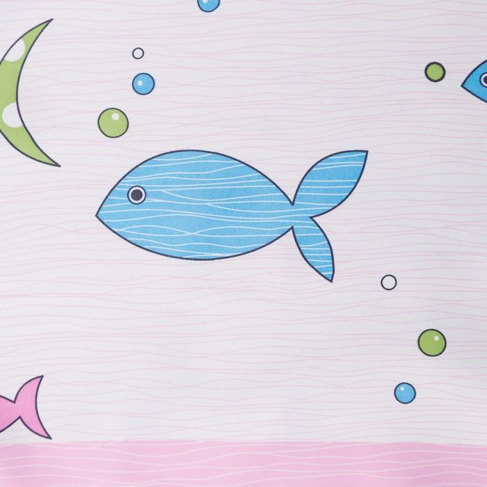 Портьера Крошка Я «Океан» без держателя цвет розовый, 110×260 см, блэкаут, 100% п/э