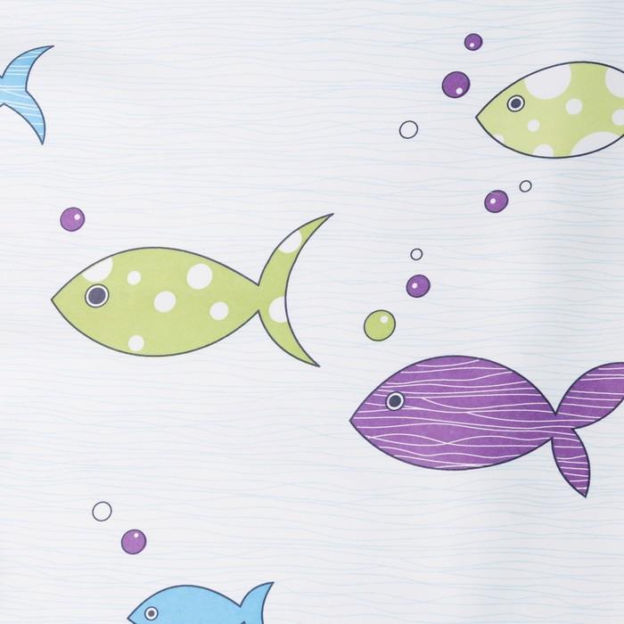 Портьера Крошка Я «Океан» без держателя цвет голубой, 110×260 см, блэкаут, 100% п/э