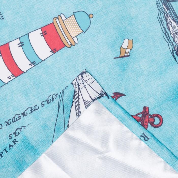 Портьера Крошка Я «Регата» без держателя цвет голубой, 170×260 см, блэкаут, 100% п/э