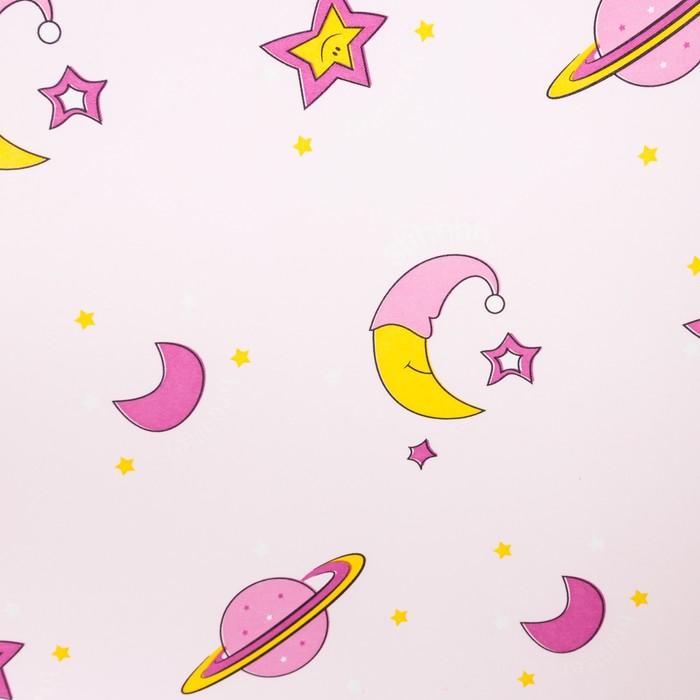 Портьера Крошка Я «Млечный путь» без держателя цвет розовый, 170×260 см, блэкаут, 100% п/э