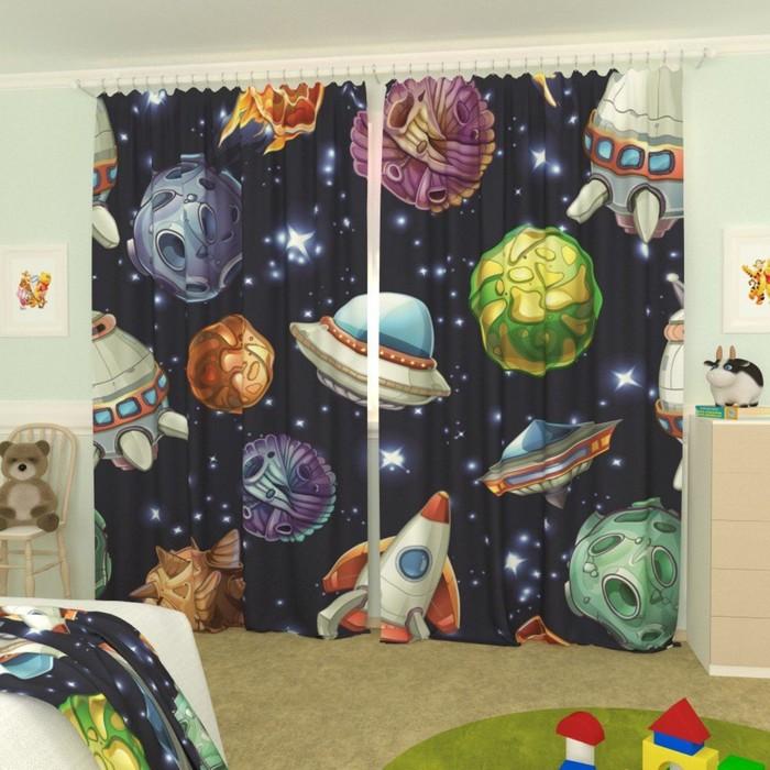 """Фотошторы """"Астероиды"""", размер 150х260 см-2 шт., габардин"""