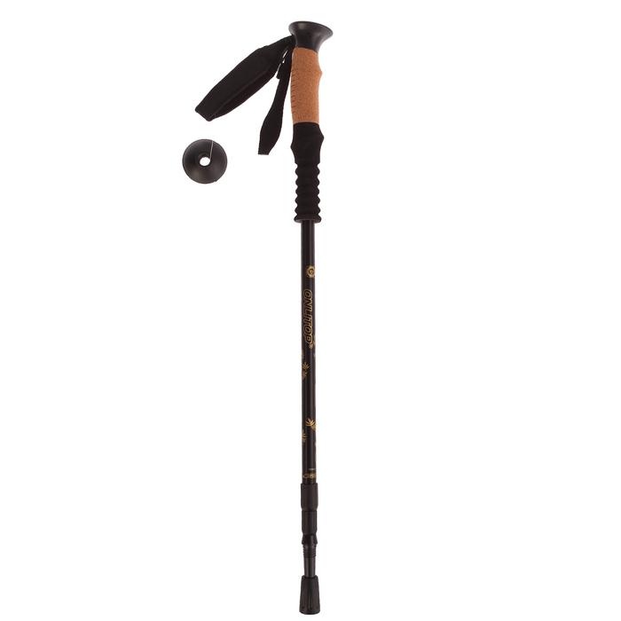 Палка для скандинавской ходьбы телескопич, 3х секц, до 135 см, (1 шт), цвет черный