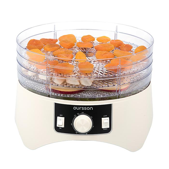 Сушилка для овощей и фруктов Oursson DH1300/IV, 4 лотка, регулировка температуры, белая