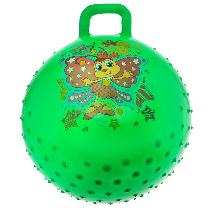 """Мяч прыгун с ручкой массажный """"Бабочка"""", d=55 см, 420 г, МИКС"""