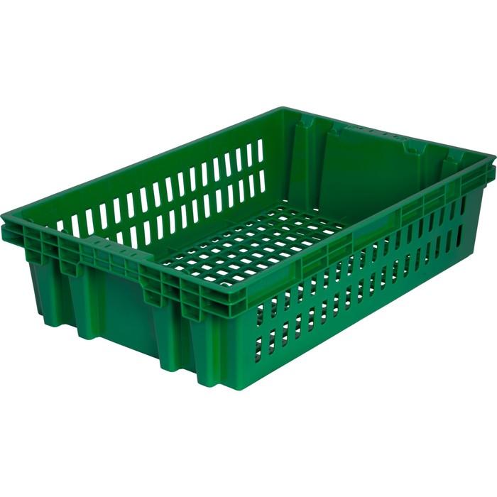 Ящик хлебный евролоток, конусный, перфорированный зеленый вес 1,2 кг.