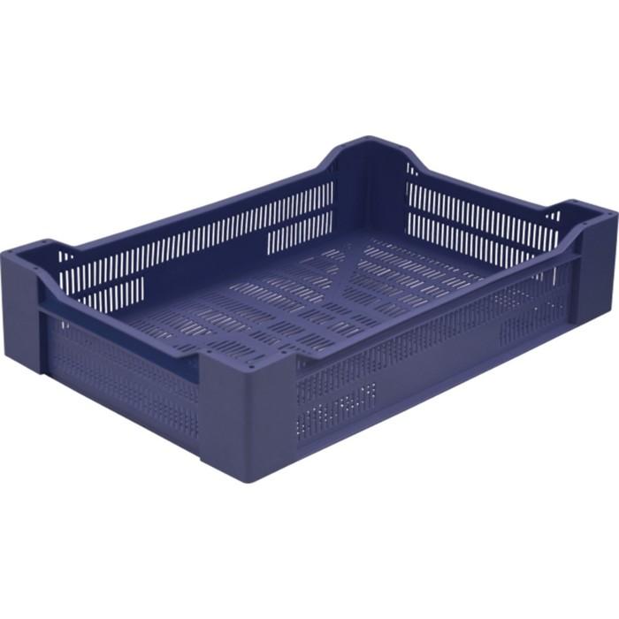 Ящик ягодный, перфорированный 600х400х135 синий
