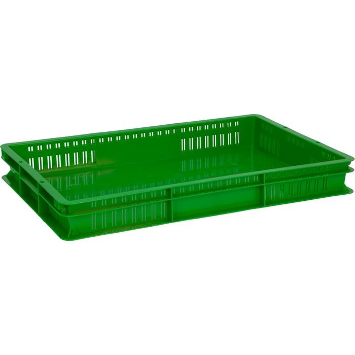 Ящик универсальный, перфорированный, дно сплошное 600х400х75 зеленый