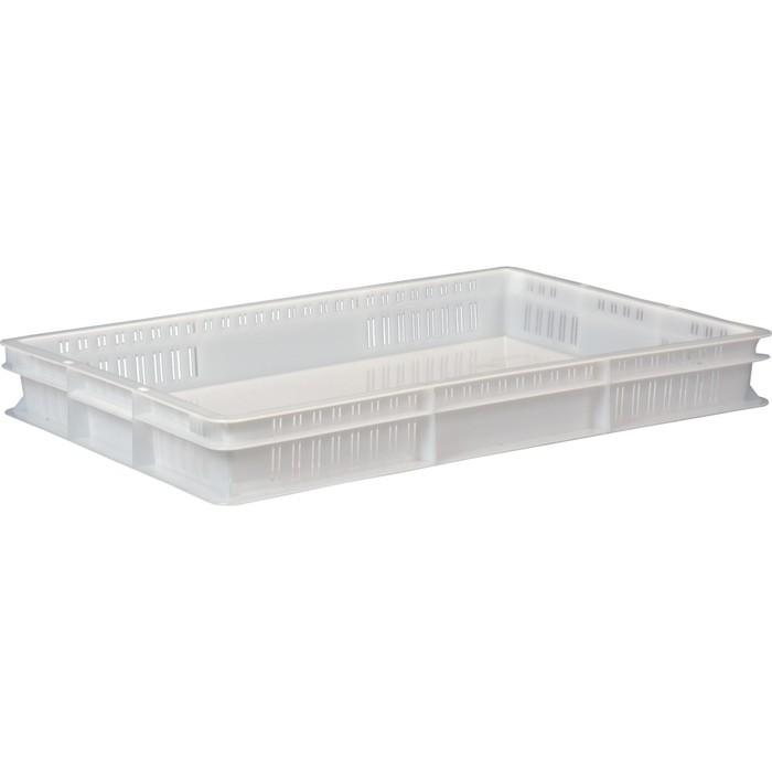 Ящик универсальный, перфорированный, дно сплошное 600х400х75 белый морозостойкий