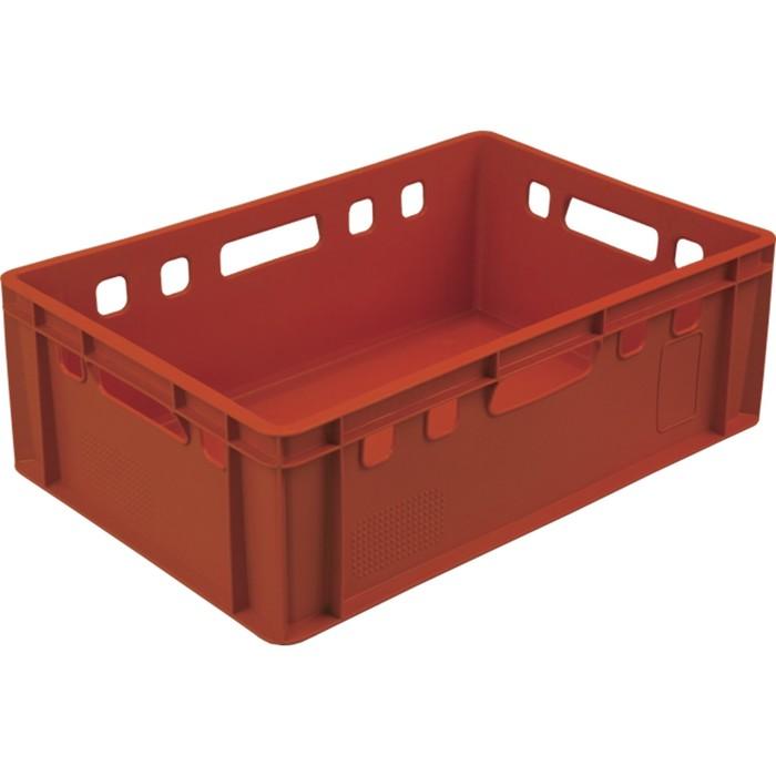Ящик мясной Е2, сплошной, 600х400х200 красный калиброванный 2,0 кг