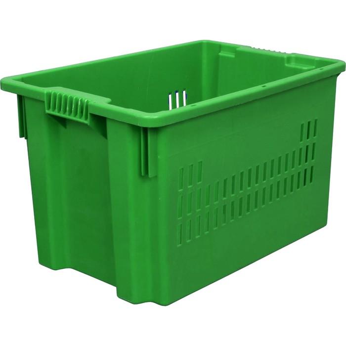 Ящик универсальный, перфорированный, дно сплошное 600х400х350 зелёный