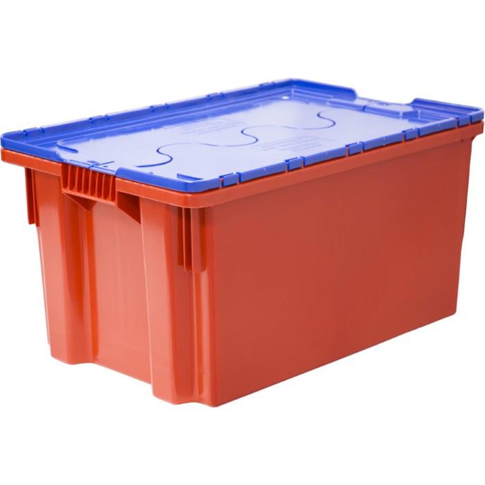 Ящик Safe PRO, сплошной, 600х400х300 красный с синей крышкой