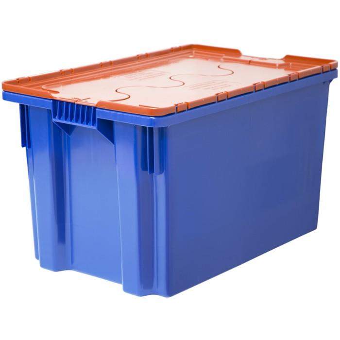Ящик Safe PRO, сплошной 600х400х350 синий с оранжевой крышкой