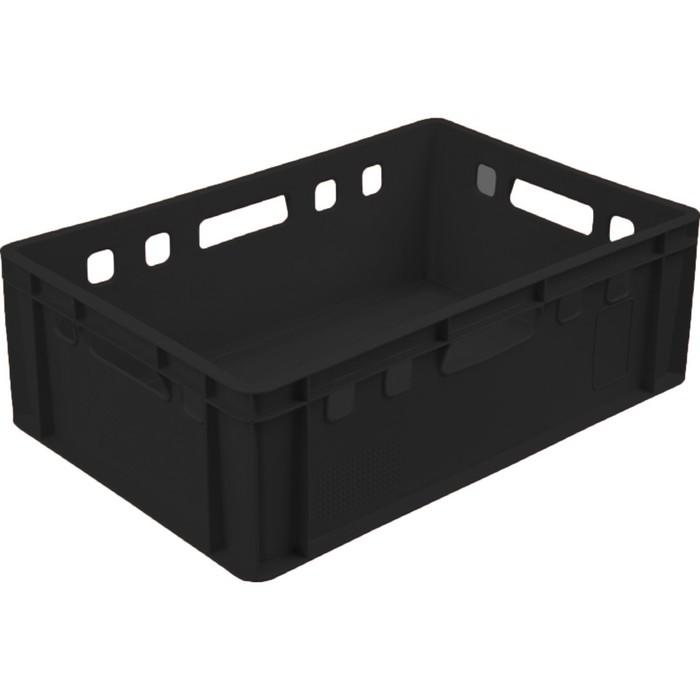 Ящик мясной Е2, сплошной, 600х400х200 черный калиброванный 2,0 кг