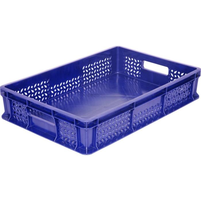 Ящик универсальный, перфорированный, дно сплошное 600х400х120 синий