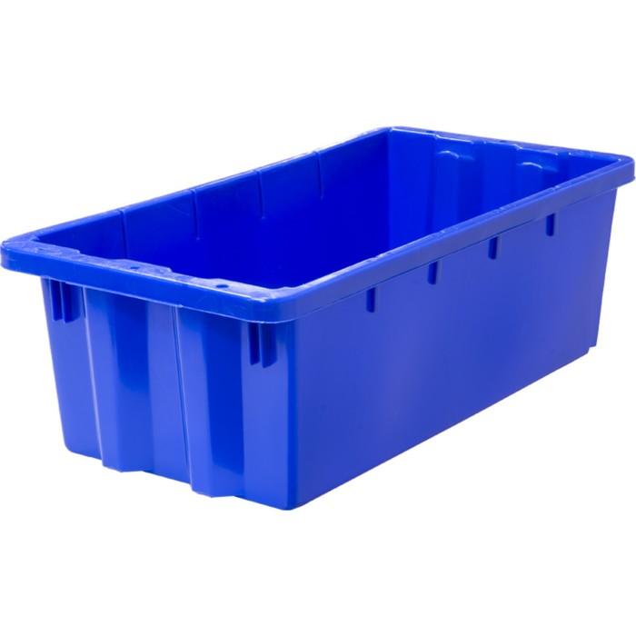 Ящик универсальный (без крышки), конусный, сплошной 600х300х190 синий морозостойкий