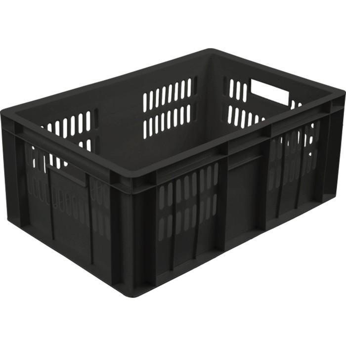 Ящик колбасный, перфорированный, дно сплошное 600х400х250 черный