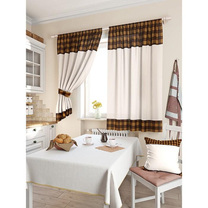 Комплект штор для кухни «Калифа», размер 150 × 180 см - 2 шт, коричневый