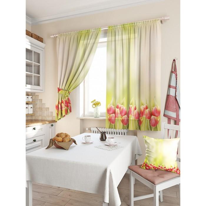 Комплект штор для кухни «Вист», размер 150 × 180 см - 2 шт