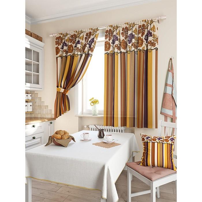 Комплект штор для кухни «Абель», размер 150 × 180 см - 2 шт, коричневый