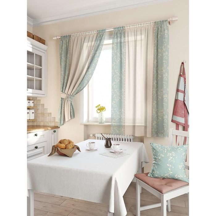 Комплект штор для кухни «Фрема», размер 150 × 180 см - 2 шт, голубой