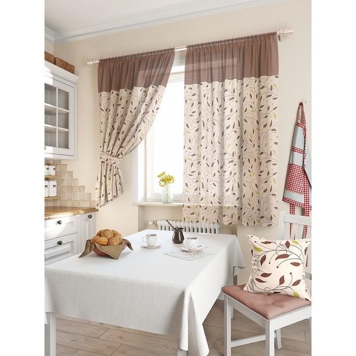 Комплект штор для кухни «Витес», размер 150 × 180 см - 2 шт, коричневый