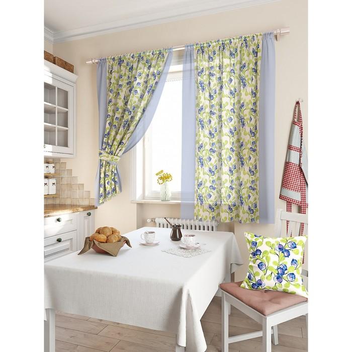 Комплект штор для кухни «Мертил», размер 150 × 180 см - 2 шт, синий