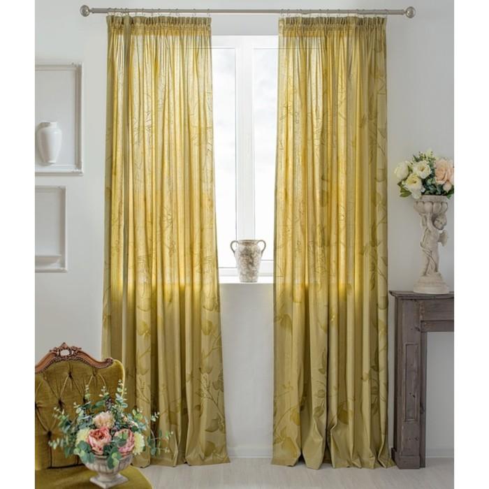 Шторы Aralie, размер 160х250 см-2 шт., цвет жёлтый, шторная лента