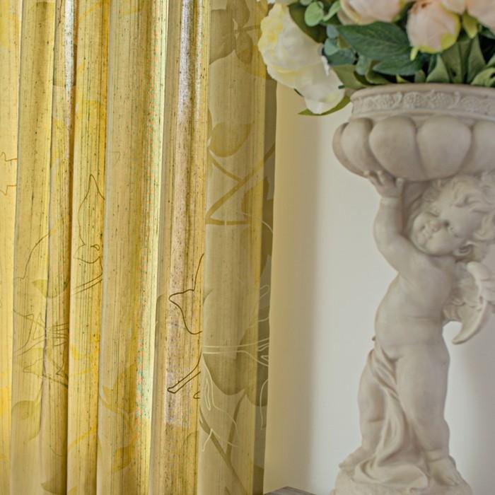 Шторы Aralie, размер 160х270 см-2 шт., цвет жёлтый, шторная лента