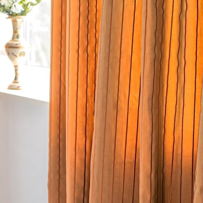 Шторы Francesco, размер 160х270 см-2 шт., цвет оранжевый, шторная лента
